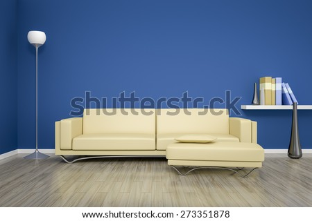 3D rendering of a blue room with a beige sofa - stock photo