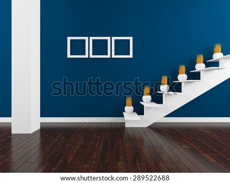 3d rendering of a blue wall with stairs in the room - stock photo