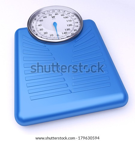 3D rendering of a blue weight scale  - stock photo