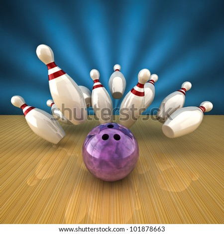 3d rendering of a bowling strike