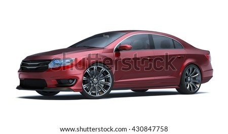 3D rendering of a brand-less generic concept car in studio environment. No trademark issues as the car is my own design. The car does not exist in real life - stock photo