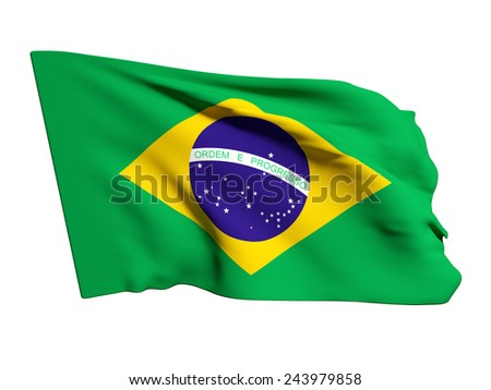 3d rendering of a brazil flag on a white background