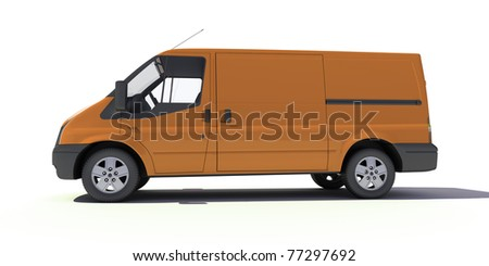 3D rendering of a brown transportation van with no brand name
