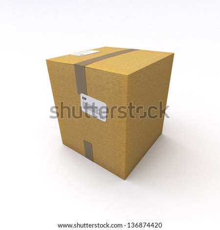 3D rendering of a cardboard box, closed with brown packing tape on a white background - stock photo