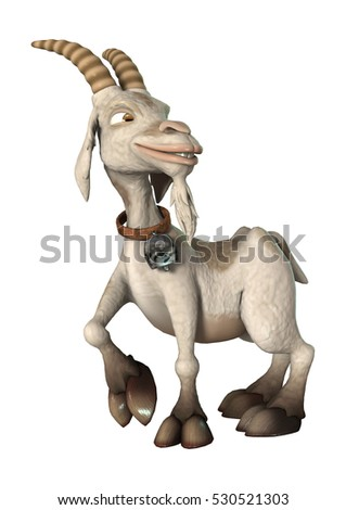 3D rendering of a cartoon goat isolated on white background