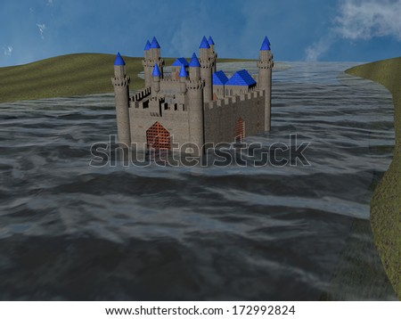 3d-rendering of a castle in a river - stock photo