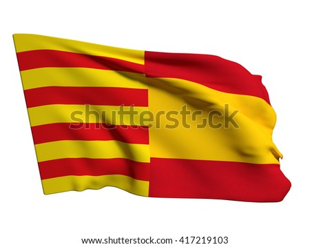 3d rendering of a catalonia and spain mixed flags, symbol of the attempt of secession of catalonia