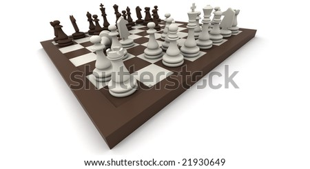 3D rendering of a chess game