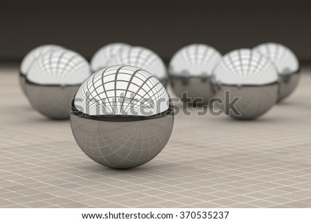 3d rendering of a close-up of steel ball reflecting many colorful balls. Glazed tile floor