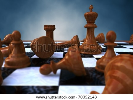 3d rendering of a closeup of a chessboard - stock photo