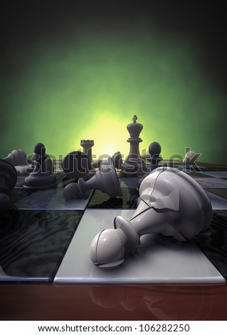3d rendering of a closeup of a chessboard with a broken pawn - stock photo