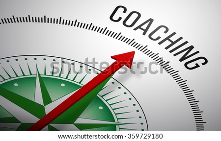 3D rendering of a compass with a Coaching icon. - stock photo
