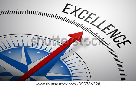3D rendering of a compass with a Excellence icon. - stock photo