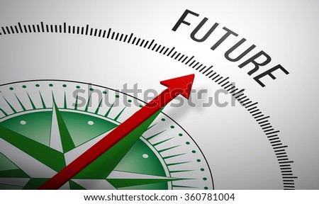 3D rendering of a compass with a Future icon. - stock photo