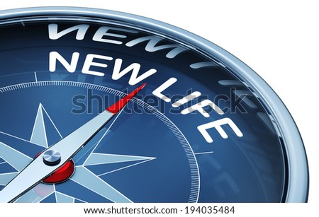 3d rendering of a compass with a new life icon - stock photo