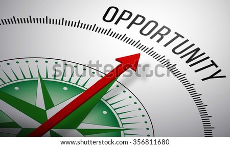 3D rendering of a compass with a Opportunity icon. - stock photo