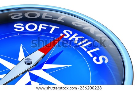 3D rendering of a compass with a soft skills icon - stock photo