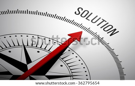3D rendering of a compass with a Solution icon. - stock photo