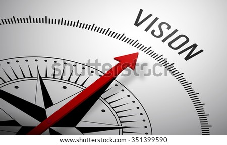3D rendering of a compass with a Vision icon. - stock photo