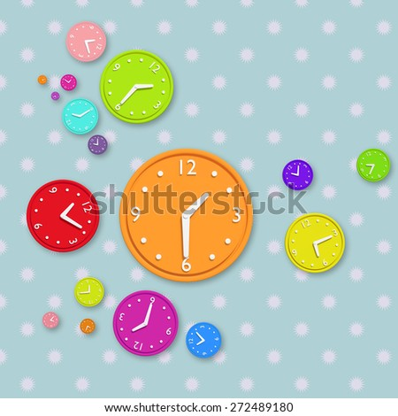 3d rendering of a composition with a lot of colored clocks