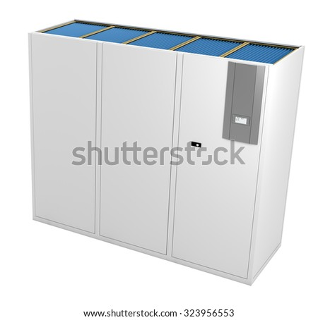 3D rendering of a Computer Room Air Conditioner (CRAC) on white background.