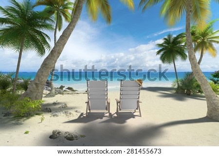 3D rendering of a couple of reclining chairs on the beach