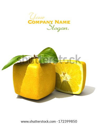 3D rendering of a cubic lemon and a half - stock photo