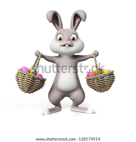 3d rendering of a cute easter bunny - stock photo