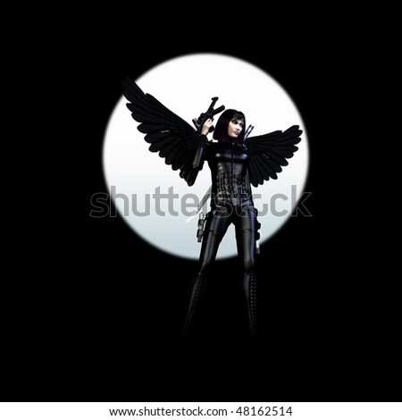 3D rendering of a dark girl with wings, rifle and gun - stock photo