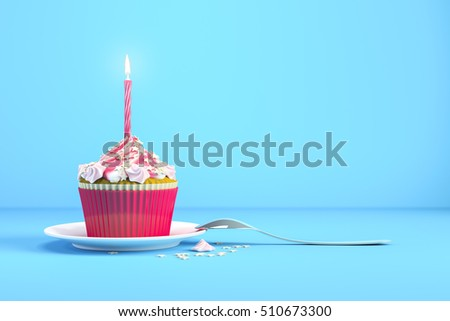 3d rendering of a delicious cupcake with a burning candle