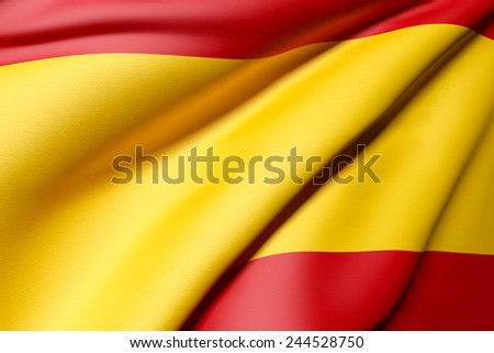 3d rendering of a detail of a Spain flag - stock photo