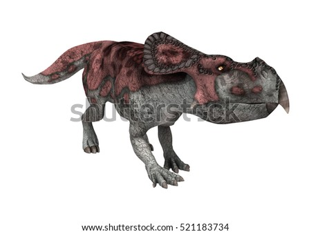 3D rendering of a dinosaur protoceratops isolated on white background
