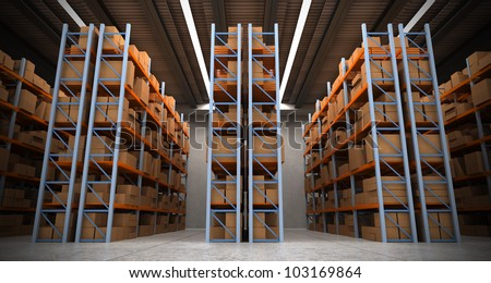 3D rendering of a distribution warehouse with shelves, racks, boxes ideal for backgrounds - stock photo