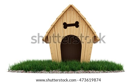 3d rendering of a dog house on a small patch of grass, isolated on white