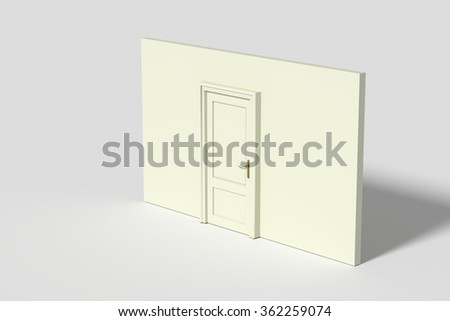 3d rendering of a door and white wall.Illustration