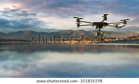3D rendering of a drone equiped with a camera on a natural landscape - stock photo