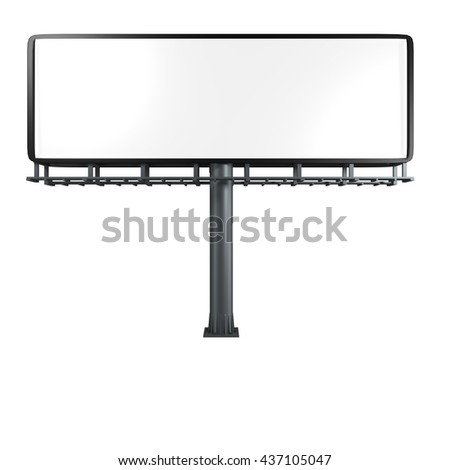 3D Rendering of a empty billboard with clipping path