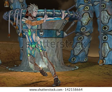 3D rendering of a fantasy woman in armor - stock photo