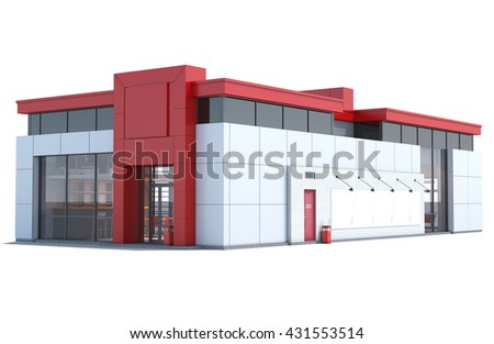 3d Rendering of a Fast food restaurant on white background.
