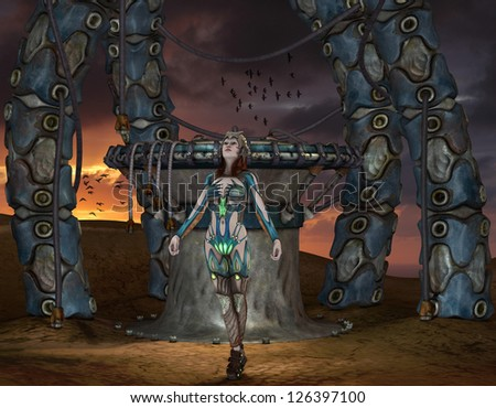 3D rendering of a female warrior in front of a portal - stock photo