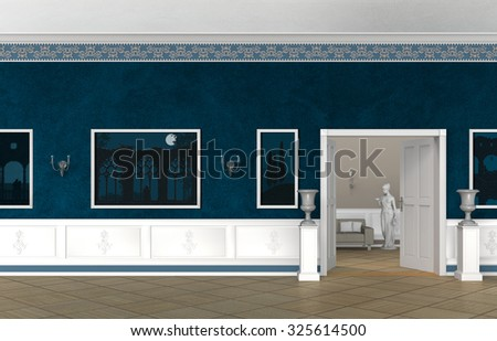 3 D rendering of a fictitious vintage style villa, castle, museum or gallery interior - stock photo