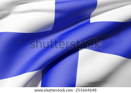 3d rendering of a Finland flag - stock photo