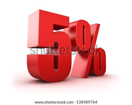 3D Rendering of a five percent symbol - stock photo