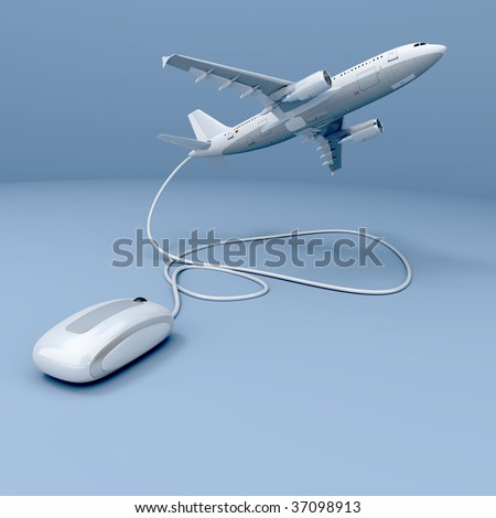 3D rendering of a flying airplane connected to a mouse - stock photo