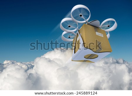 3D rendering of a flying drone carrying a box against a blue sky - stock photo