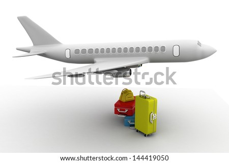 3D rendering of a flying plane - stock photo