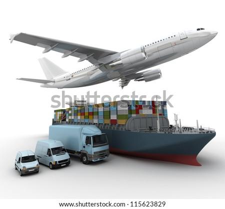 3d Rendering Flying Plane Truck Lorry Stock Illustration 115623829 ...