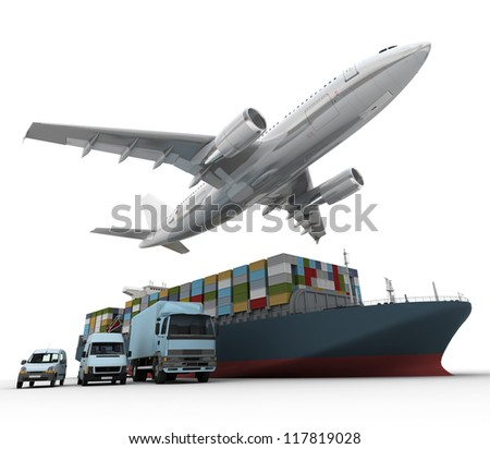 3D rendering of a flying plane, a truck, a lorry, and a freight ship - stock photo