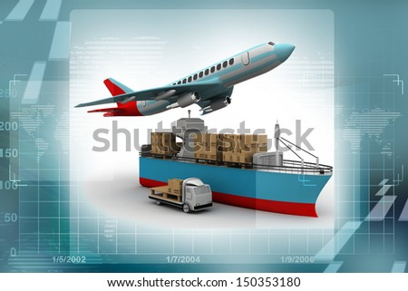 3D rendering of a flying plane, a truck, and a cargo container - stock photo