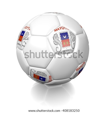 3D rendering of a football soccer ball colored with the flag of Mayotte (local) isolated on a white background - stock photo